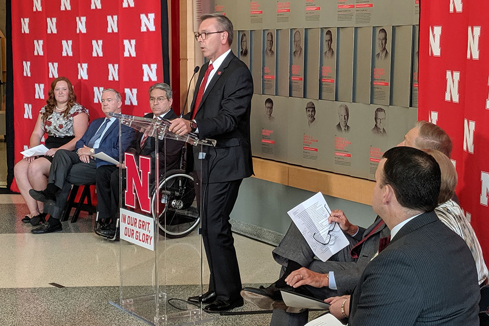 University of Nebraska-Lincoln Chancellor Ronnie Green gives opening remarks at Monday's press conference.
