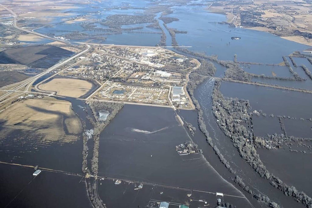 In this aerial photo, the Village of Waterloo is surrounded by flood waters from the Elkhorn River.
