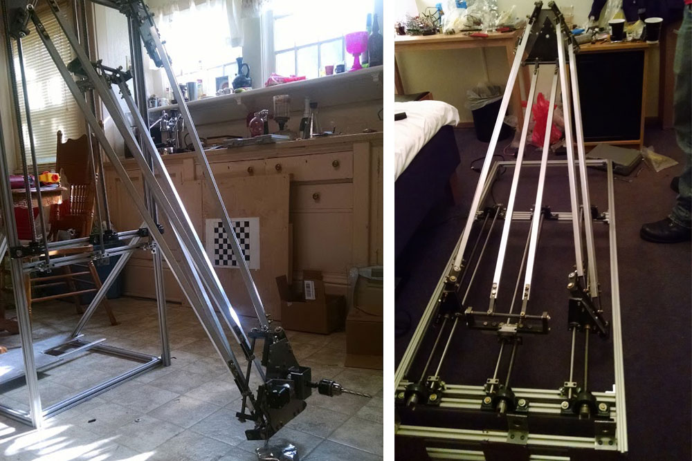 Mechanical engineering students Colton Bailey, Alex Drozda, Kyle Stewart and Tory Weeder designed a robot (left) that would automate the drilling process for airliner construction and had to assemble it in their hotel room in Sweden (right) before the Airbus Shopfloor Challenge in early June.