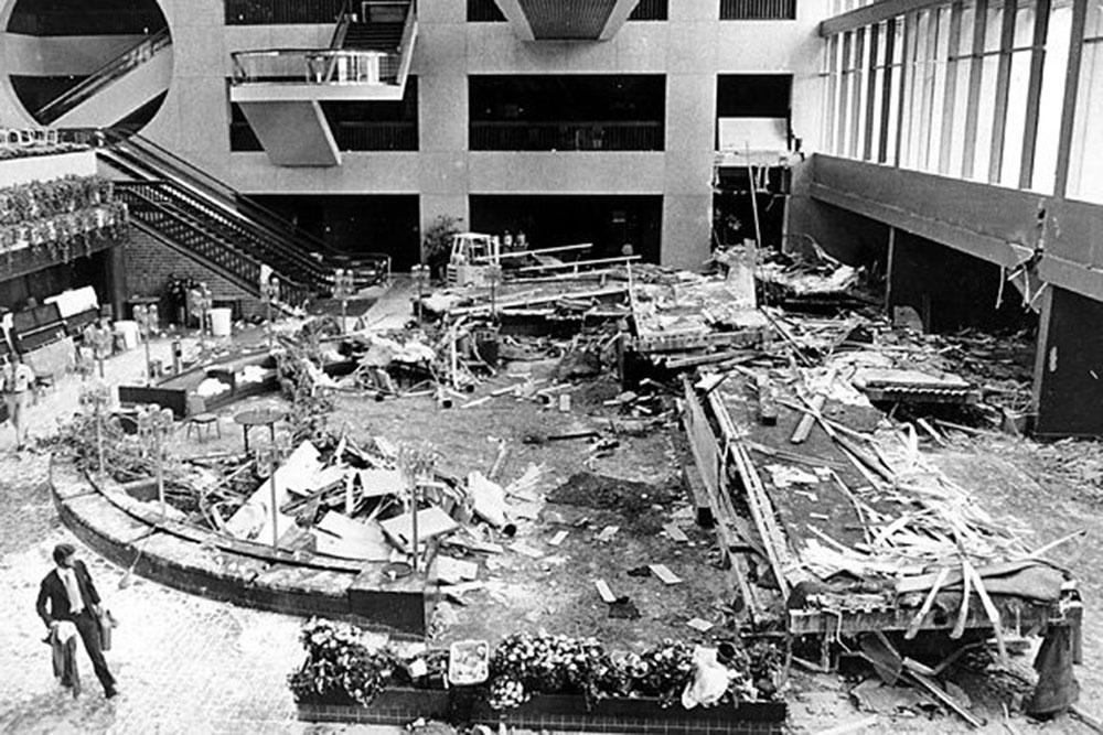 The July 17, 1981, collapse of the skywalk inside the Hyatt Regency in Kansas City, Missouri, left 114 dead and 216 injured.
