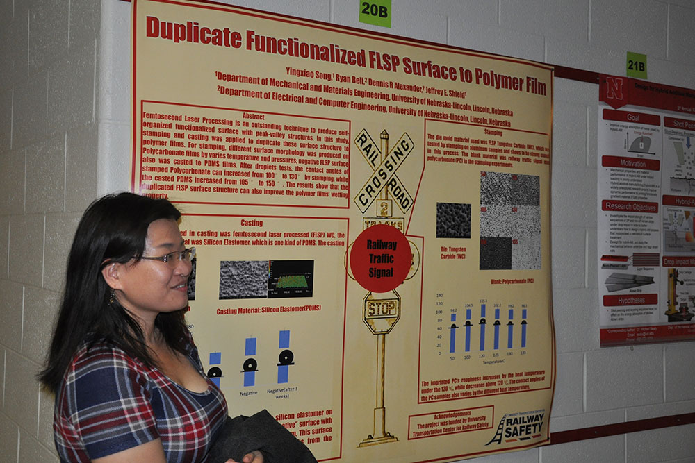 Yingxiao Song was one of the many graduate students presenting research posters Friday at the Mechanical and Materials Engineering Research Fair.