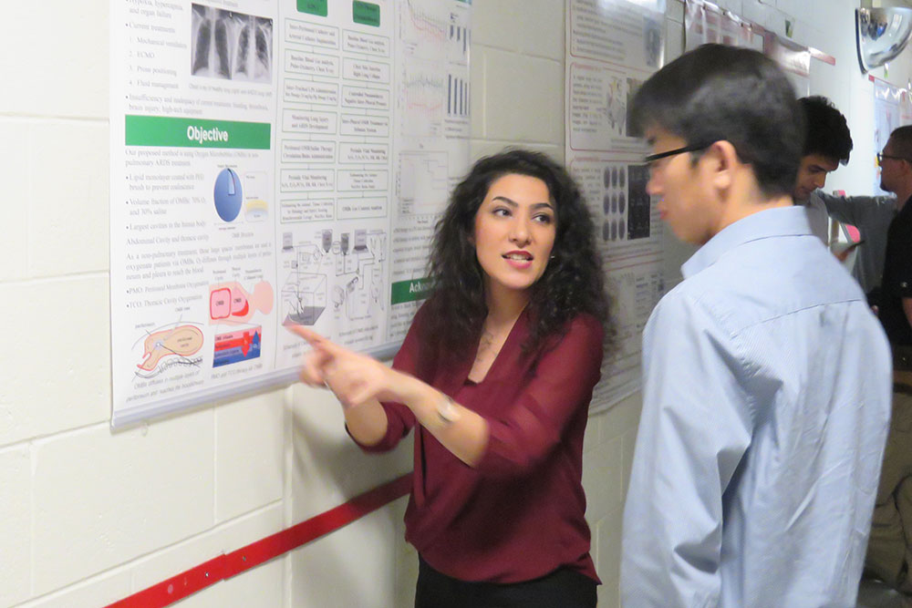 Fariba Aghabaglou answers a question about her research Friday during the Mechanical and Materials Engineering Research Fair.