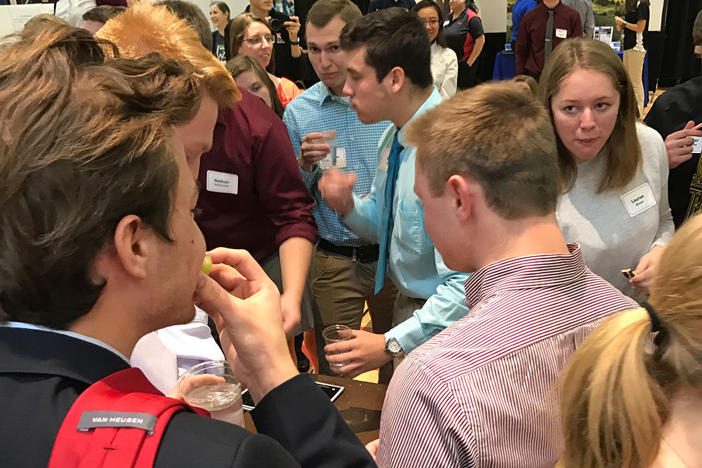 Teams of biological systems engineering students try to eat their edible vehicles during the annual competition on Dec. 5 at the Nebraska East Campus Union.