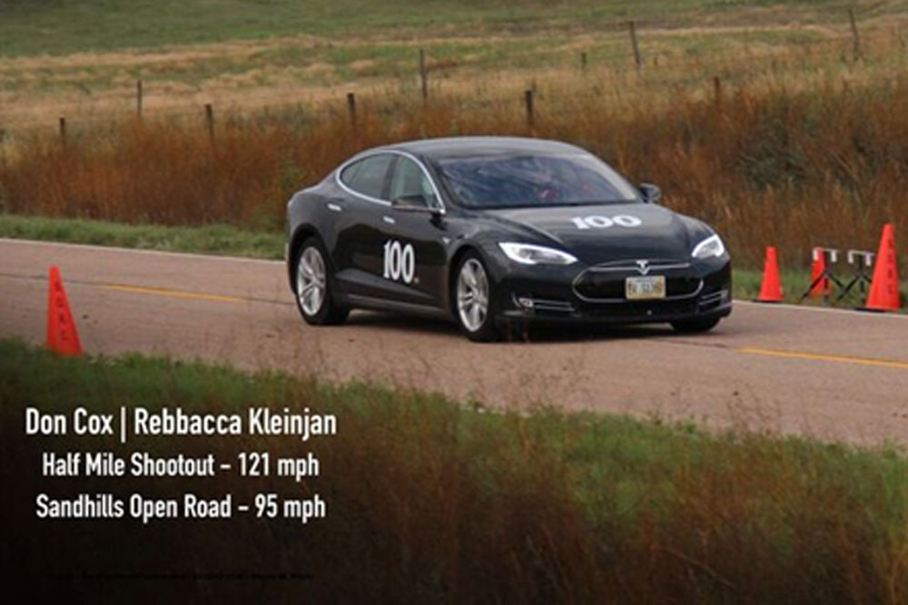 Don Cox, adjunct faculty in electrical and computer engineering, drove a Tesla 2012 Model S, a car with an electric engine, to a top speed of 121.6 mph in the half-mile shootout at the recent Sandhills Open Road Challenge in the sandhills of western Nebraska.