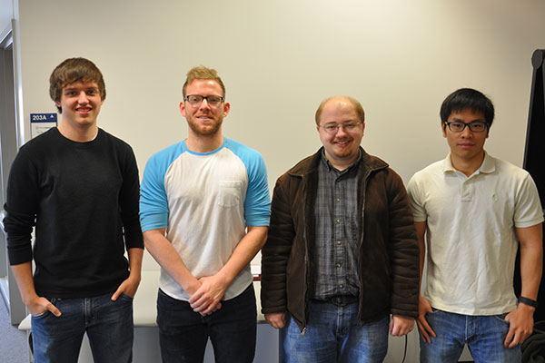 A team of UNL electrical and computer engineers - (from left) Ryan Durr, Heath Gress, Troy Green and Zeyang Cai - are developing a monitoring device that will help the Henry Doorly Zoo monitor its stingrays.