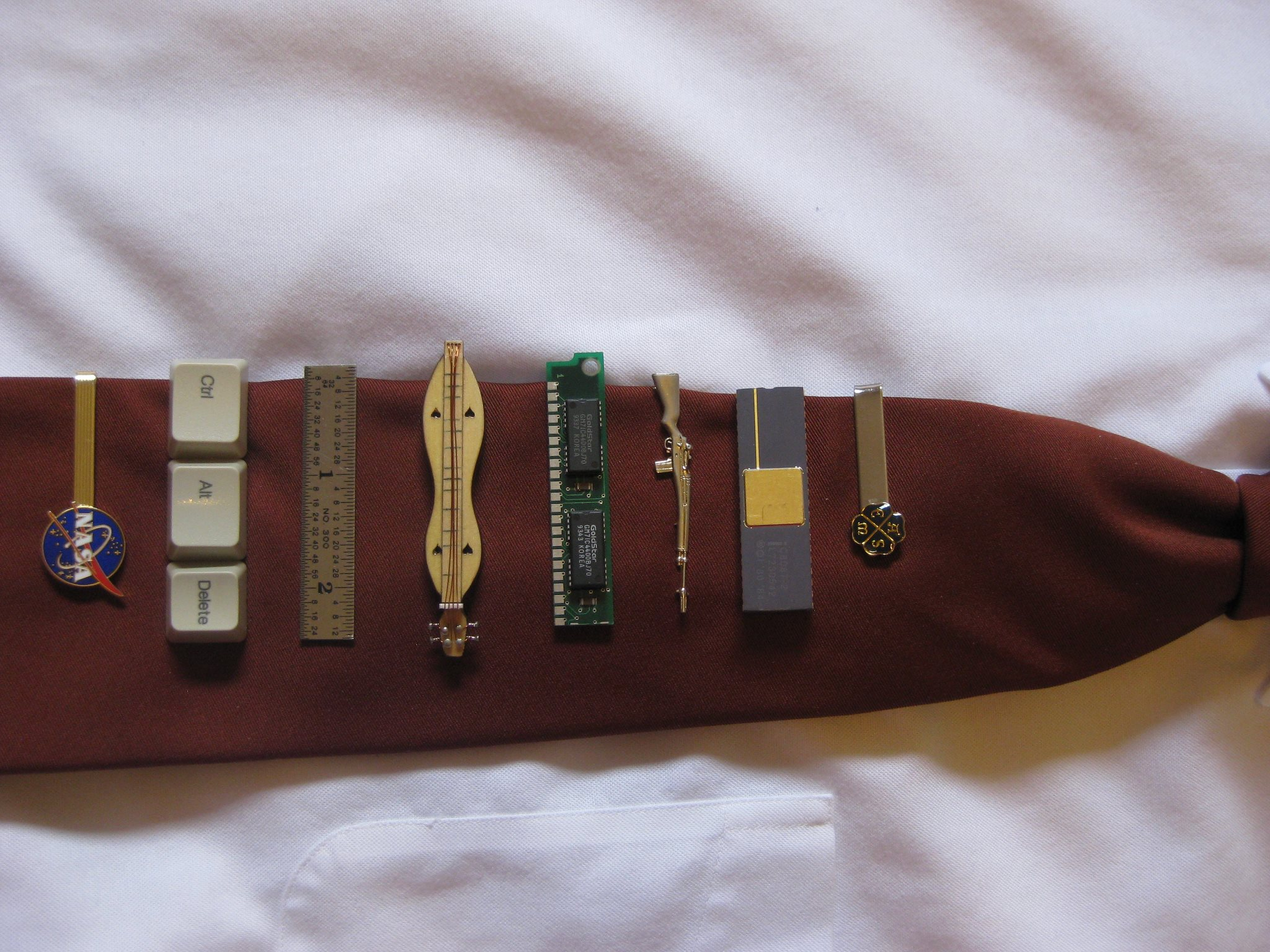 A collection of tie clips worn by Kevin Cole, professor of mechanical and materials engineering.