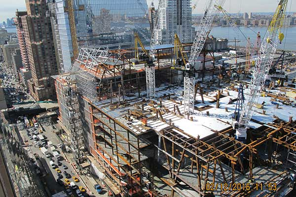 Work on the second tower continues in February as Hudson Yards, the largest real-estate development in U.S. history, takes up 28 acres of space on Manhattan's Far West Side.