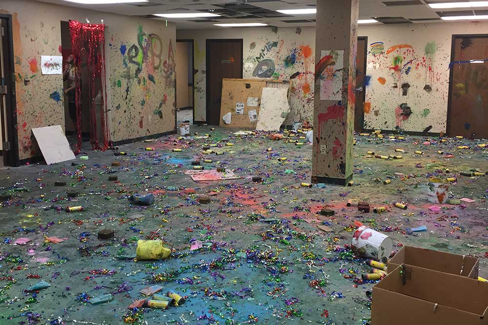 The walls, floors and columns in the former Civil Engineering offices are adorned with paint, powder, streamers and confetti after #LINKBASH, Thursday, Sept. 19.