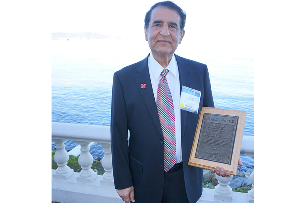 Hamid Vakilzadian, professor of electrical and computer engineering, was presented with the George F. McClure Citation of Honor at the IEEE-USA Awards and Recognitions Ceremony on Feb. 3 in Burlingame, Calif.