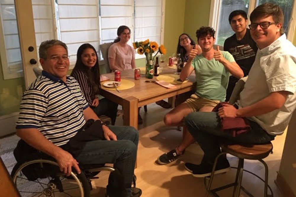 Students from Yachay Tech University in Ecuador enjoy dinner with College of Engineering Dean Lance C. Pérez.