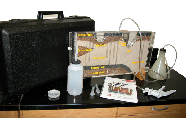 The University of Nebraska's Groundwater Flow Model is shipped in its carrying case, completely packed and ready to operate with the necessary accessories, including a hand-operated vacuum pump, flask to receive