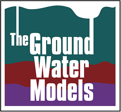 The Ground Water Models Logo - Waves of lines with the words The Ground Water Models over it