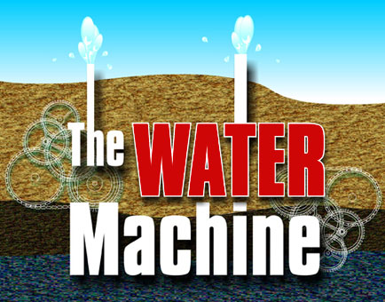 The Water Machine Logo - side image of hilly terrain and water spraying out of the ground with The Water Machine spelled out over it