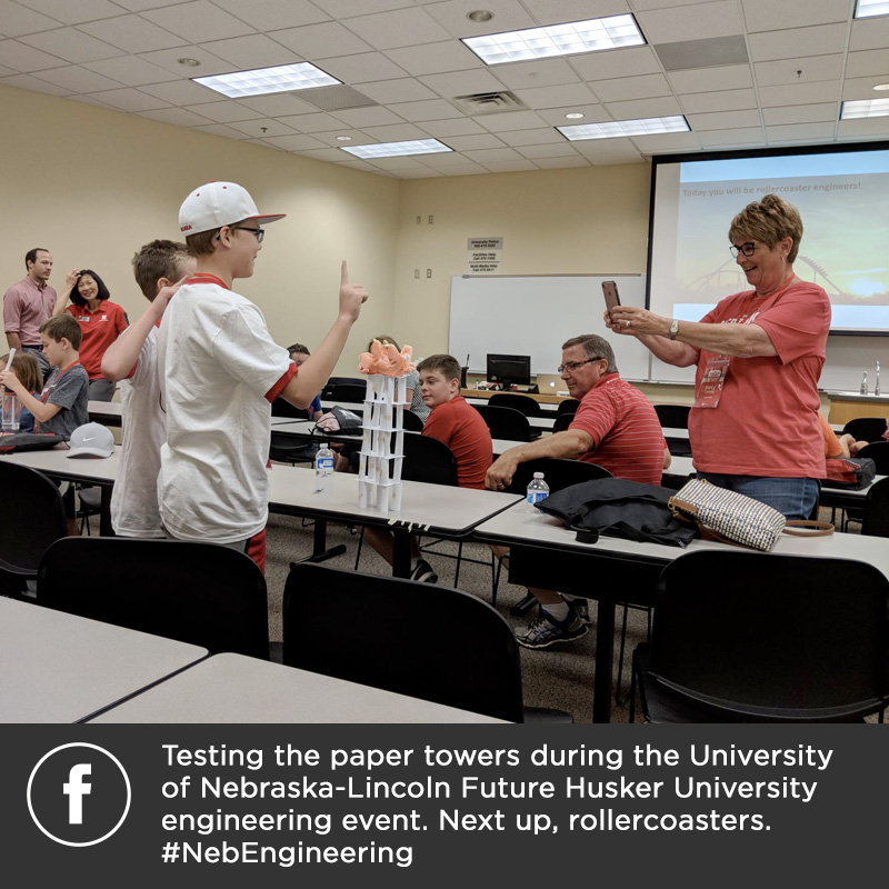 Testing the paper towers during the University of Nebraska-Lincoln Future Husker University engineering event. Next up, rollercoasters. #NebEngineering