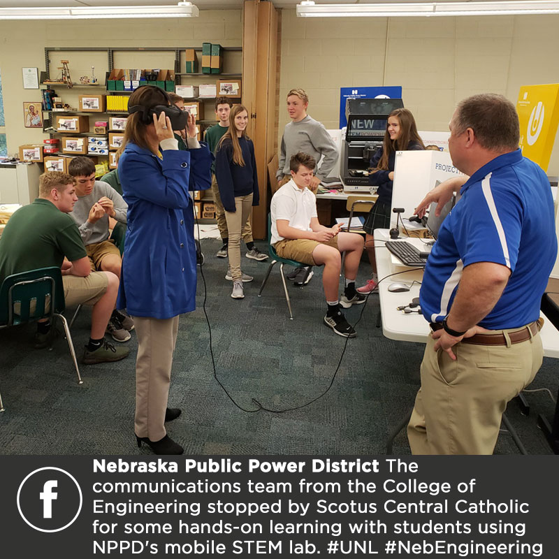 The communications team from University of Nebraska-Lincoln College of Engineering stopped by Scotus Central Catholic last Friday for some hands-on learning with students using NPPD's mobile STEM lab. #UNL #NebEngineering