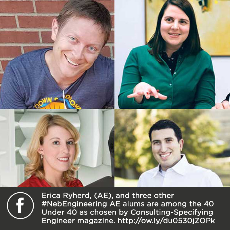 Erica Ryherd, (AE), and three other #NebEngineering AE alums are among the 40 Under 40 as chosen by Consulting-Specifying Engineer magazine. http://ow.ly/du0530jZOPk