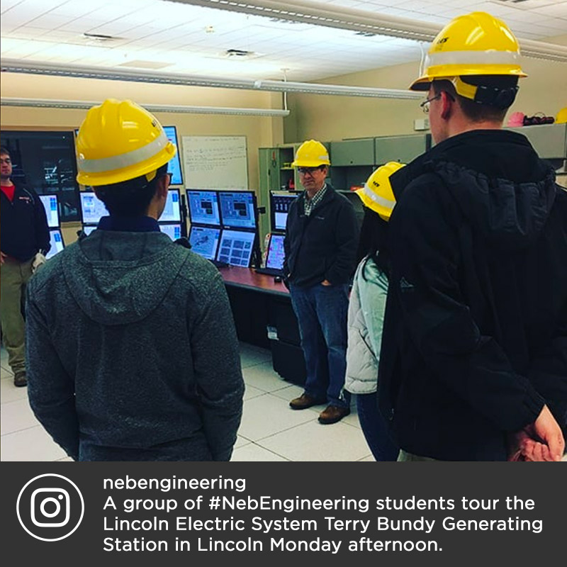 A group of #NebEngineering students tour the Lincoln Electric System Terry Bundy Generating Station in Lincoln Monday afternoon.