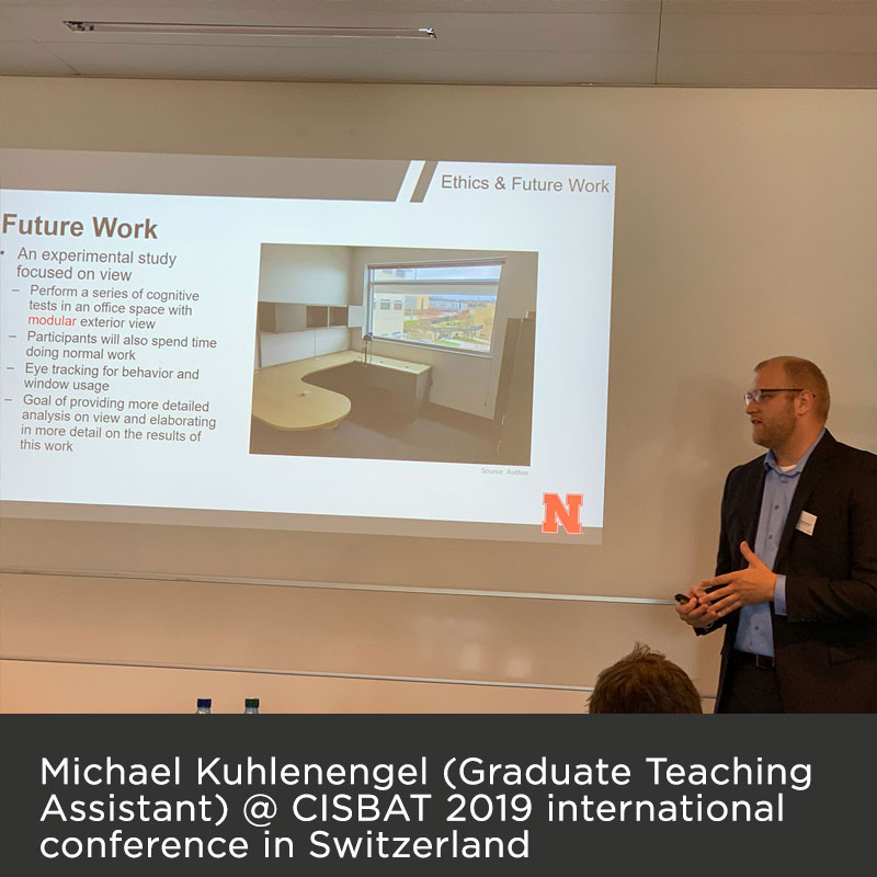 Michael Kuhlenengel (Graduate Teaching Assistant) @ CISBAT 2019 international conference in Switzerland