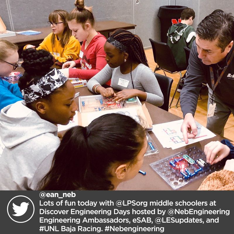 @ean_neb Lots of fun today with @LPSorg middle schoolers at Discover Engineering Days hosted by @NebEngineering Engineering Ambassadors, eSAB, @LESupdates, and #UNL Baja Racing. #Nebengineering
