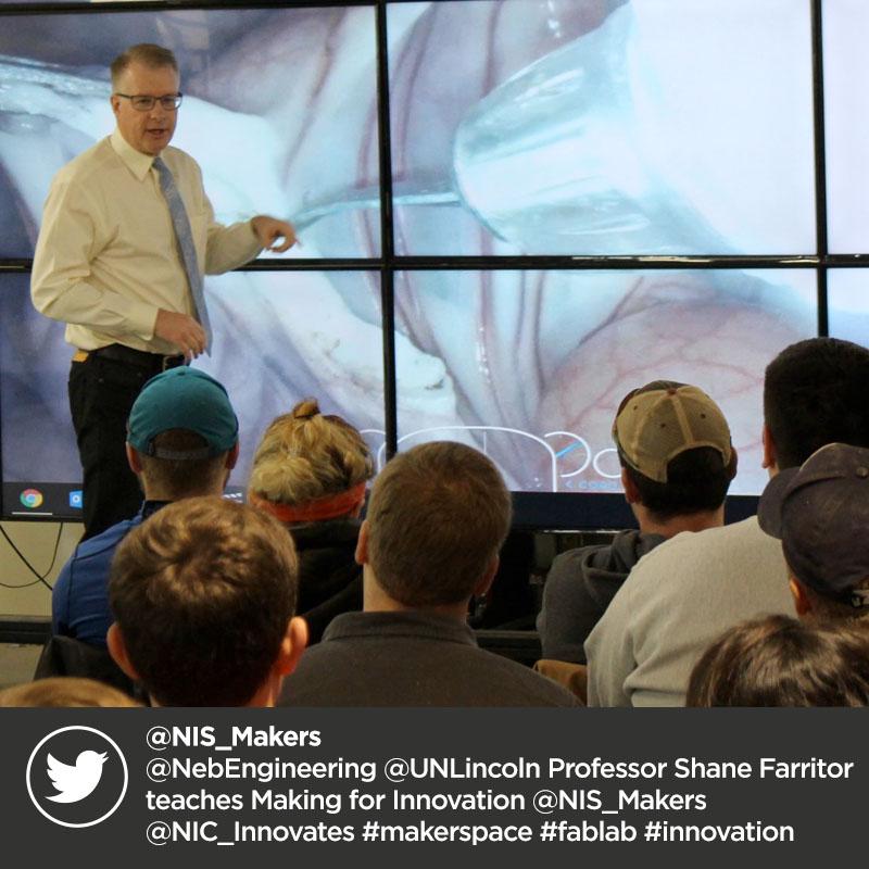 @NIS_Makers @NebEngineering @UNLincoln Professor Shane Farritor teaches Making for Innovation @NIS_Makers @NIC_Innovates #makerspace #fablab #innovation