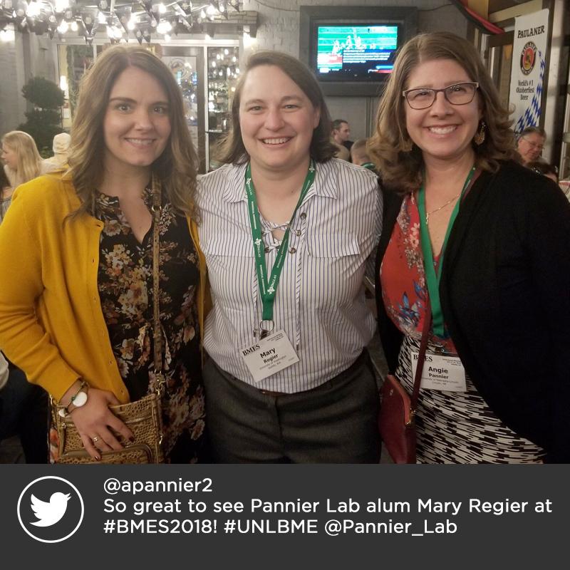@apannier2  So great to see Pannier Lab alum Mary Regier at #BMES2018! #UNLBME @Pannier_Lab