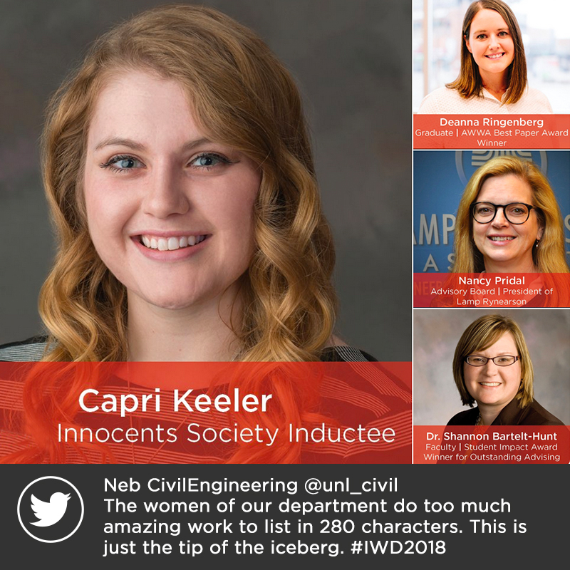 Neb CivilEngineering @unl_civil The women of our department do too much amazing work to list in 280 characters. This is just the tip of the iceberg. #IWD2018 #NebEngineering