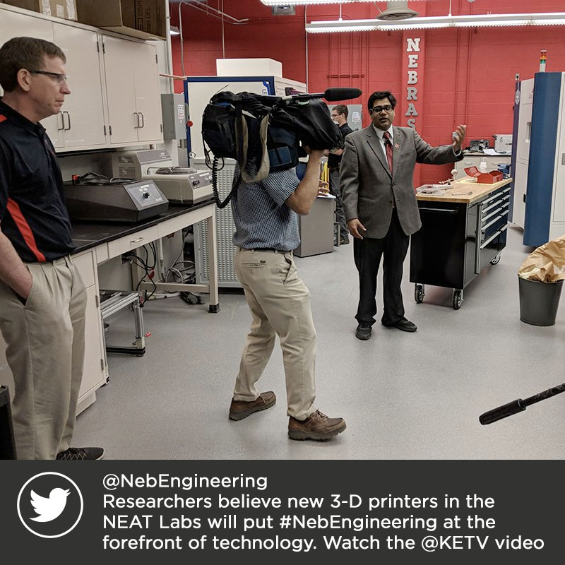 @NebEngineering Researchers believe new 3-D printers in the NEAT Labs will put #NebEngineering at the forefront of technology. Watch the @KETV video