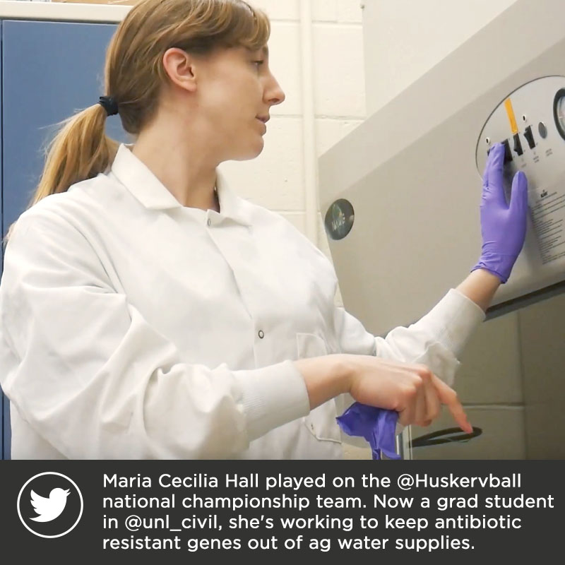Maria Cecilia Hall played on the @Huskervball national championship team. Now a grad student in @unl_civil, she's working to keep antibiotic resistant genes out of ag water supplies.