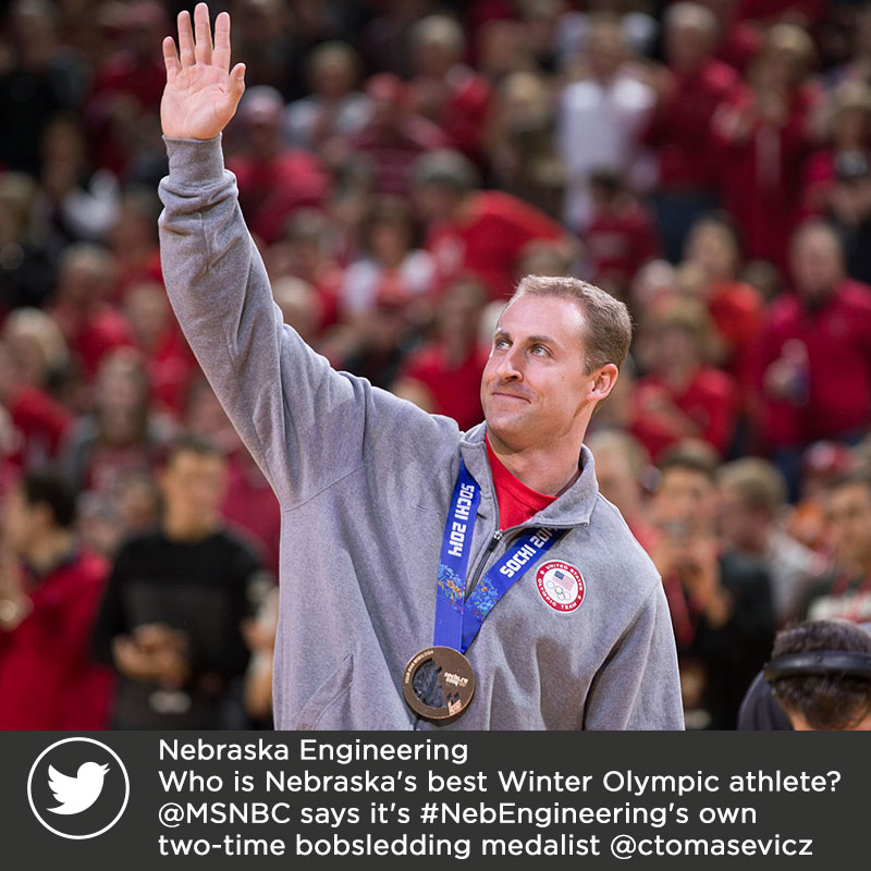 Twitter - Who is Nebraska's best Winter Olympic athlete? @MSNBC says it's #NebEngineering's own two-time bobsledding medalist @ctomasevicz