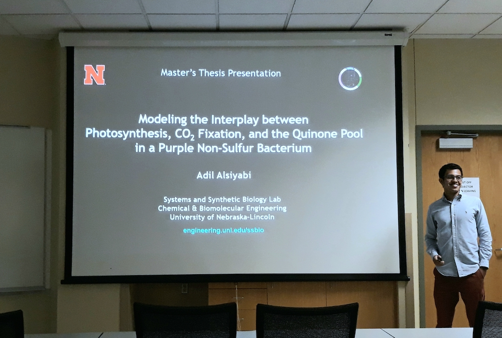 "Graduate student Adil Alsiyabi successfully defended his MS thesis titled ""Modeling the Interplay Between Photosynthesis, Carbon Fixation, and the Quinone Pool in a Purple Non-Sulfur Bacterium"". Congratulations!"