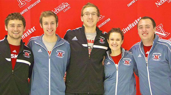 The UNL curling team won one of its matches at the 2015 USA Curling College Championships in Rochester, N.Y. The team included (from left) Isaac Fuhrman, Ty Rempe, Tim Adams, Ali Creeger and Cameron Binder. Fuhrman and Rempe are mechanical and materials engineering majors and Adams is a civil engineering major. Chemical engineering majors Courtney Cournoyer and Josh Mueller and civil engineering major Walter Manchester were also on the UNL team.
