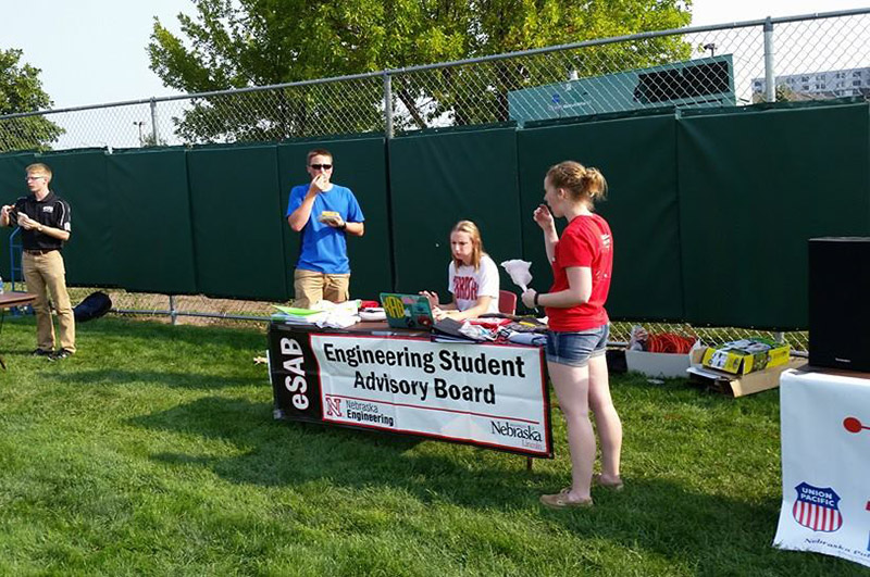 The Engineering Student Advisory Board (eSAB) booth at Rock the Block 2015.