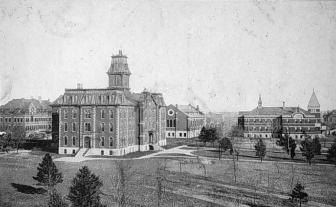 Pharmacy Hall, Grant Memorial Hall, the Library building, and Nebraska Hall