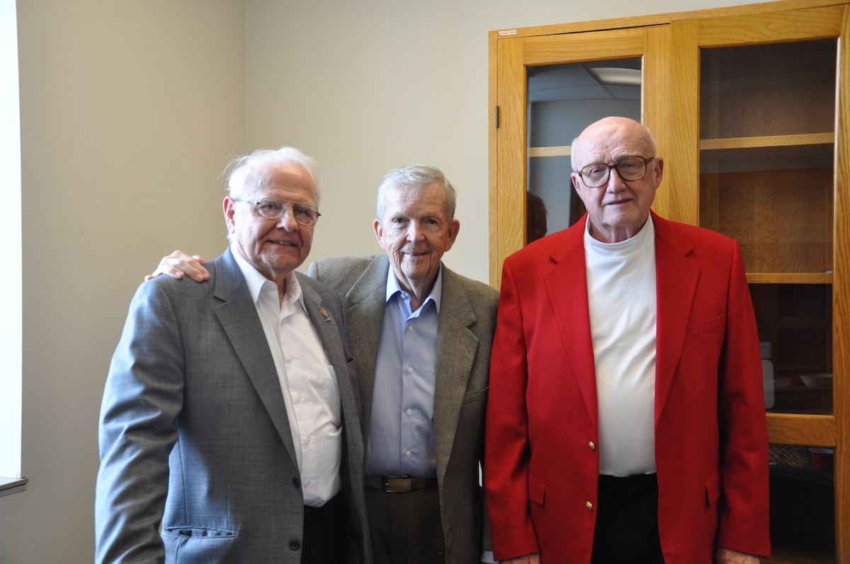 "Members of the class of 1954 reunited for the first time in ""many, many years: "" Robert Koch, Wilmer Hergenrader and Warren Andrews."