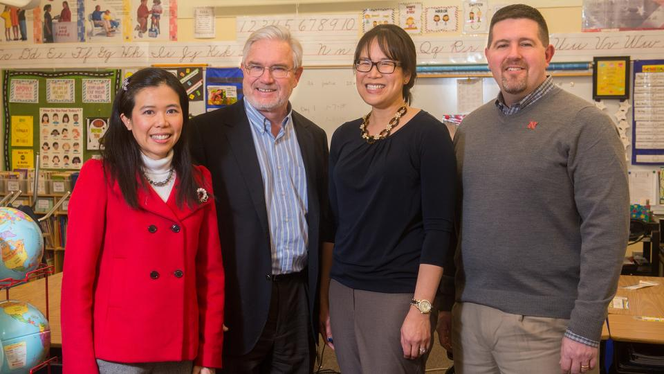 From Left to right: UNL's Healthy Schools project team: Dr. Josephine Lau, Dr. Clarence Waters, Dr. Lily Wang, and Dr. Jim Bovaird