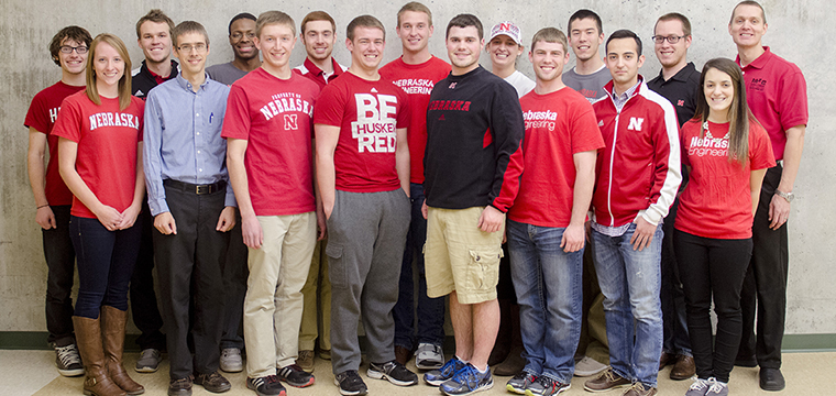 The 2014 UNL Microgravity Team is pictured above. From left: Sawyer Jager, Tricia Foley, Erik Moore, Associate Prof. Carl Nelson, P.E., Blake Stewart, Piotr Slawinski, Nick Goeser, Christian Laney, Shawn Schumacher, Luke Monhollon, Maggie Clay, Ethan Monhollon, Alfred Tsubaki, Victor Torres, Weston Lewis, Effie Greene, Assistant Prof. Ben Terry; not pictured: Ty Rempe, Dustin Dam.