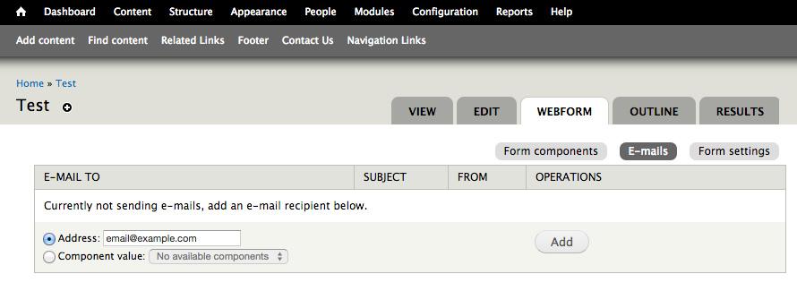 Setting up Email Screenshot