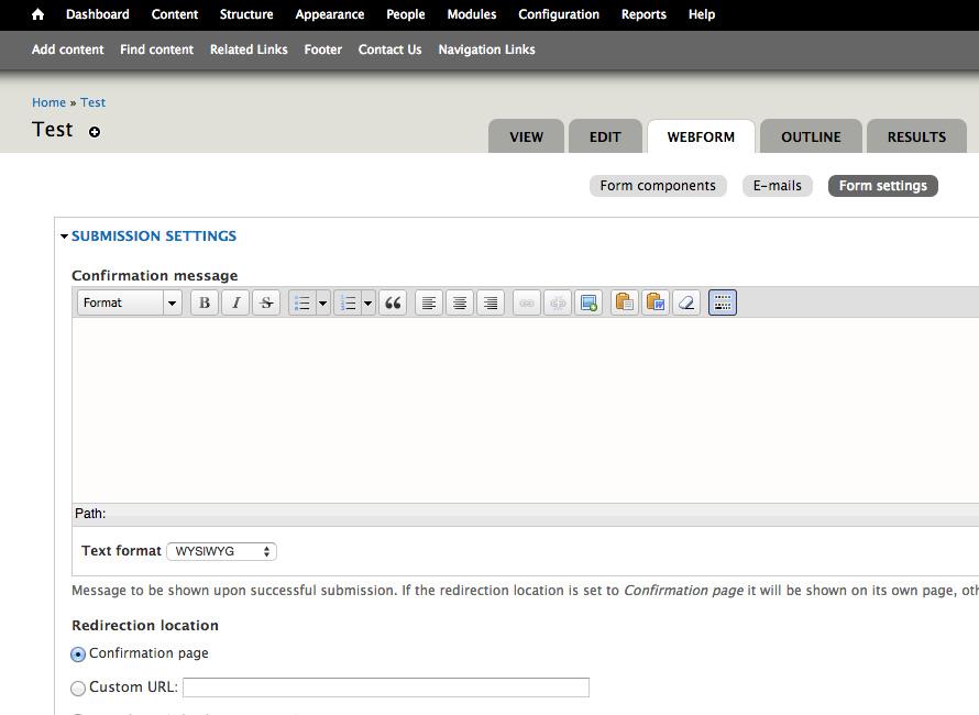 Form Settings Screenshot