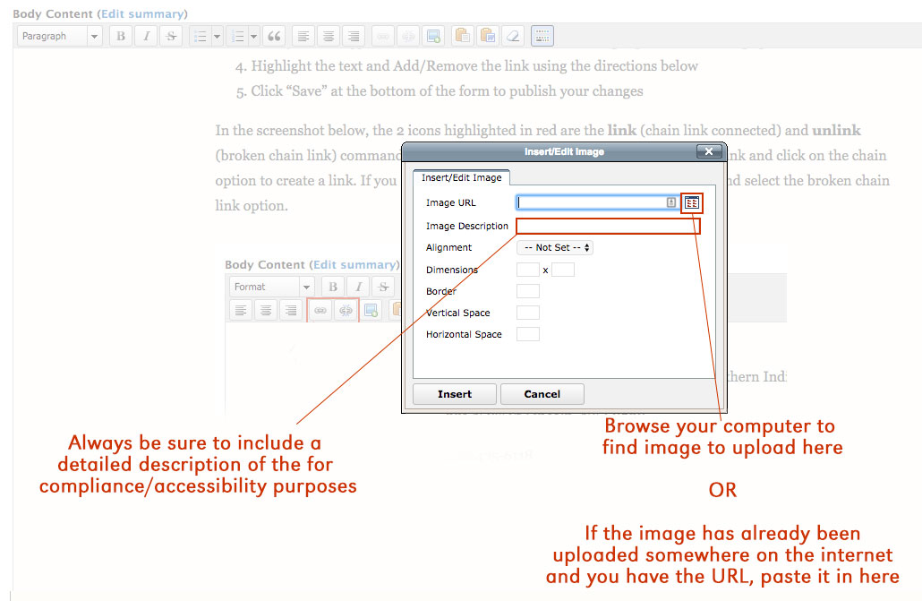 Screenshot with greater details once you have selected the Insert/Edit an image option the UNL content management system.