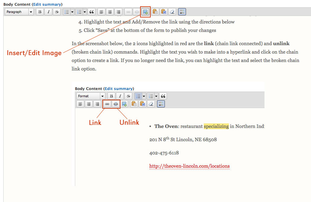Screenshot of how to Insert/Edit an image using the UNL content management system.