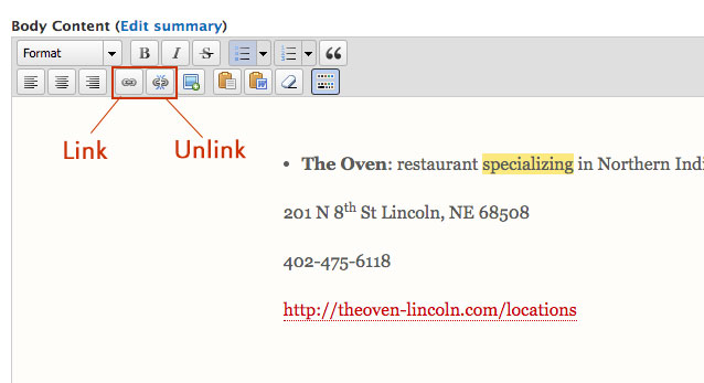 Screenshot of how to update a link in the UNL content management system.