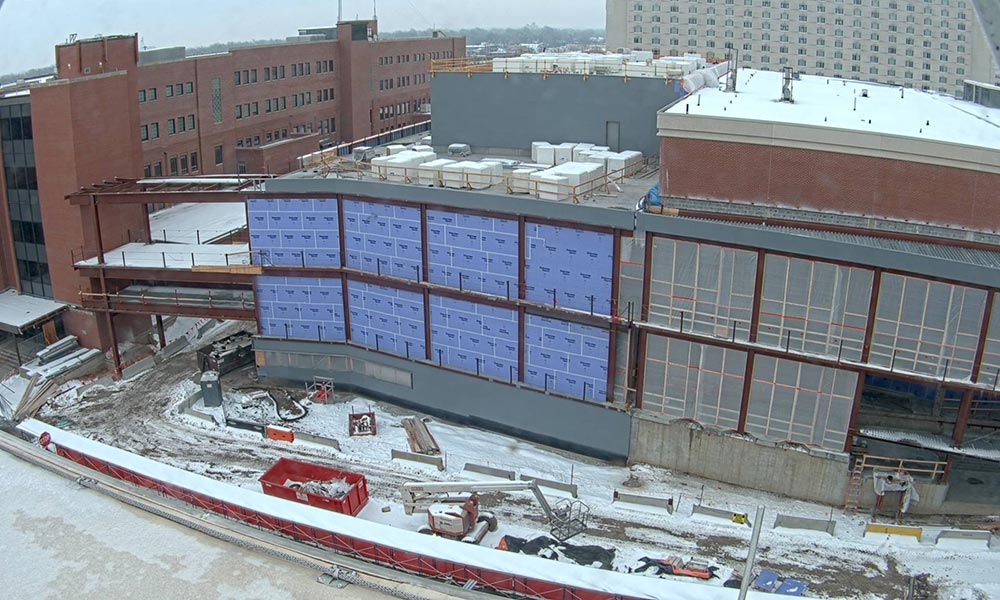 Construction view from the west of the new Scott Engineering Center and Link: January 1, 2021