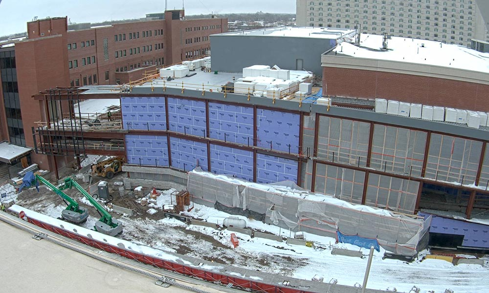 Construction view from the west of the new Scott Engineering Center and Link: February 1, 2021