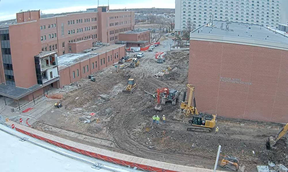 Construction view from the west of the new Scott Engineering Center and Link: February 1, 2020