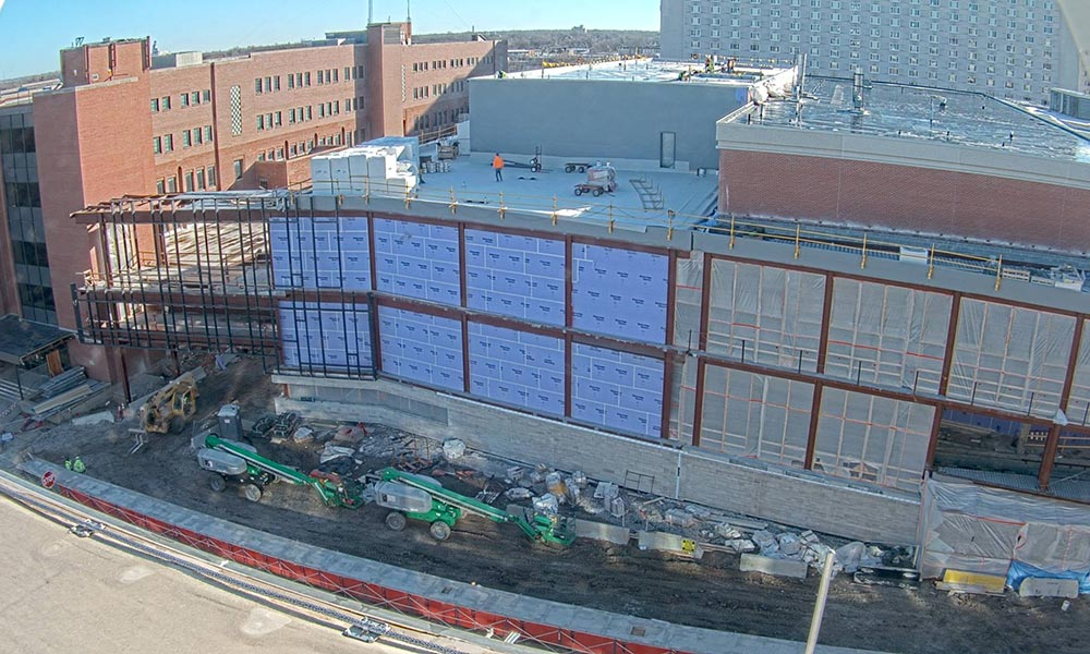 Construction view from the west of the new Scott Engineering Center and Link: March 1, 2021