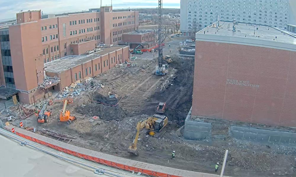 Construction view from the west of the new Scott Engineering Center and Link: March 1, 2020
