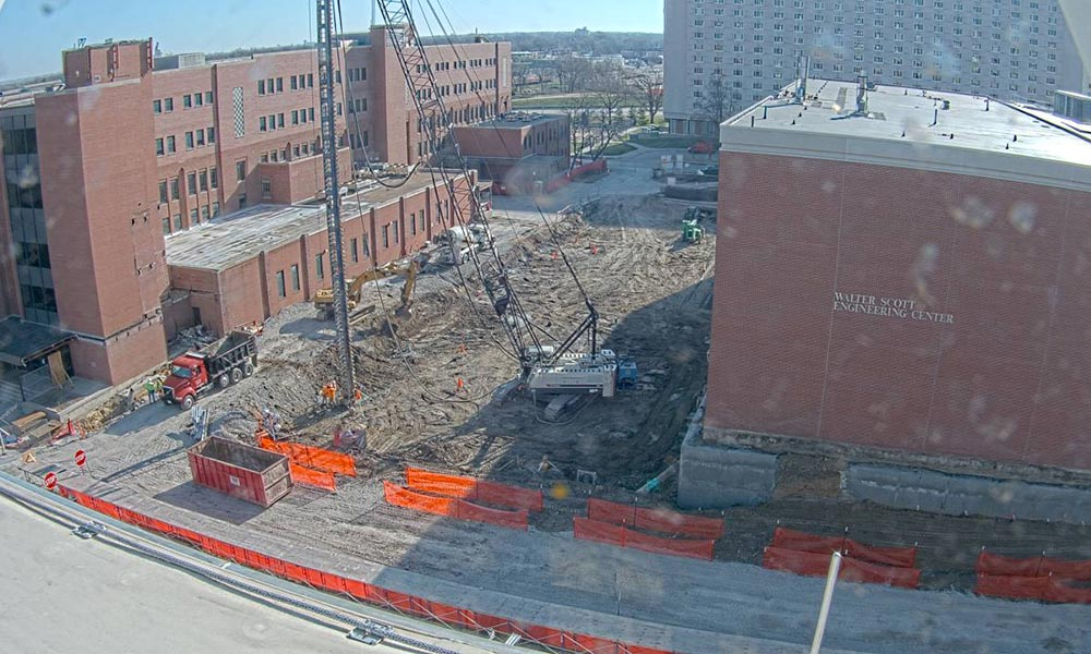 Construction view from the west of the new Scott Engineering Center and Link: April 1, 2020