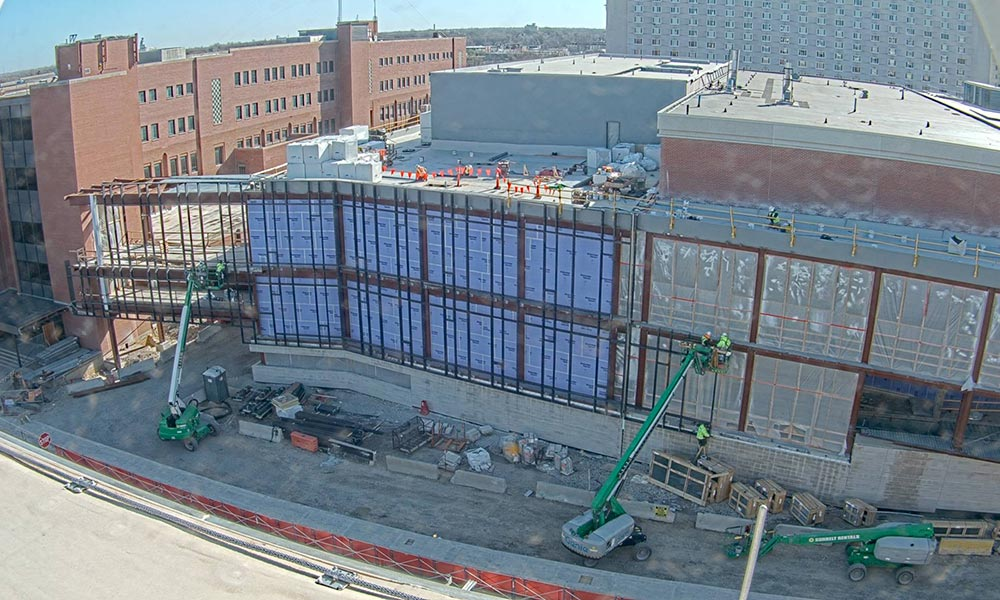 Construction view from the west of the new Scott Engineering Center and Link: April 1, 2021