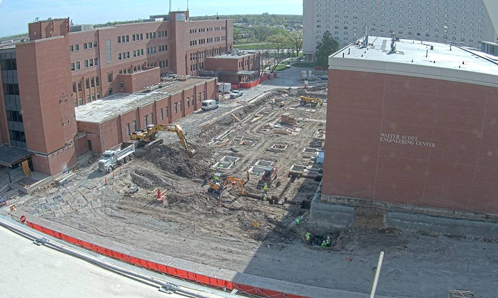 Construction view from the west of the new Scott Engineering Center and Link: May 1, 2020