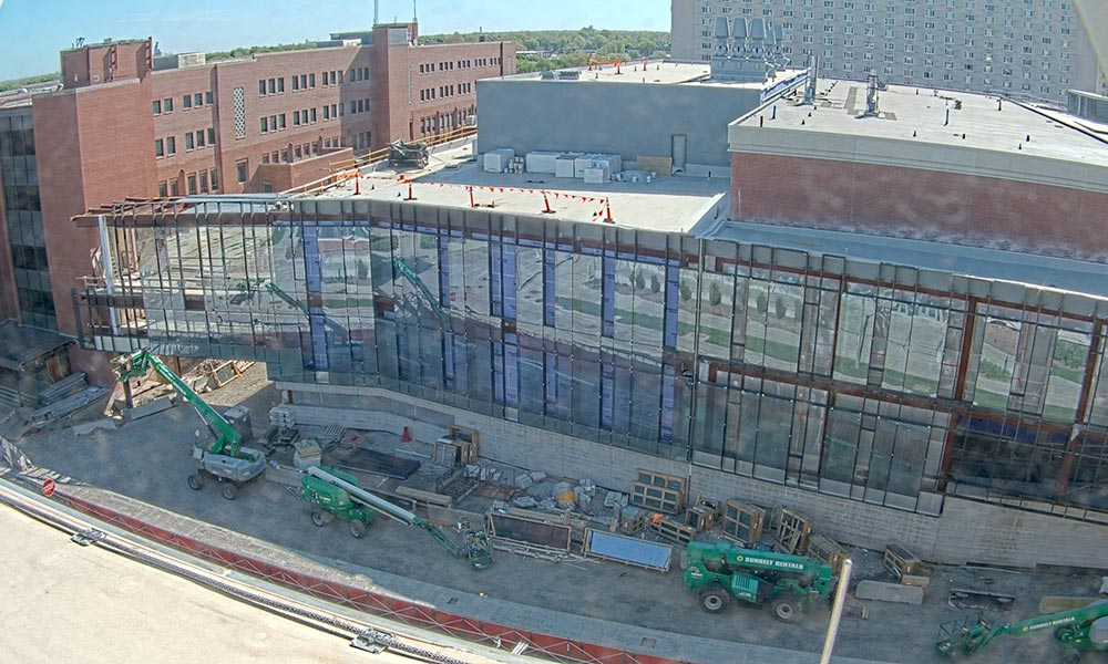 Construction view from the west of the new Scott Engineering Center and Link: May 1, 2021